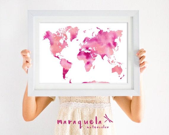 WORLDMAP illustration WATERCOLOR, PINK,violet and orange colors tone map,vivid colours, home decor,living room,modern decoration,carte monde