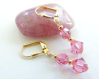 Swarovski Crystal Earrings, Bridal Jewelry, Bridesmaids Gifts, Pink Crystal Earrings, Simple Crystal Earrings, Dangle Earrings. A335