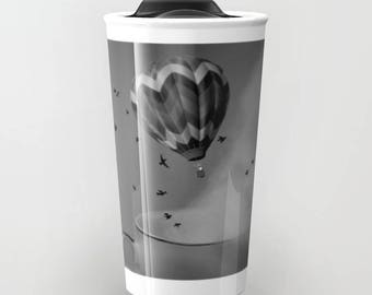 Travel Mug - Hot Air Balloon Ceramic Coffee Travel Mug - Hot or Cold Travel Mug - 12oz Travel Mug - Made to Order