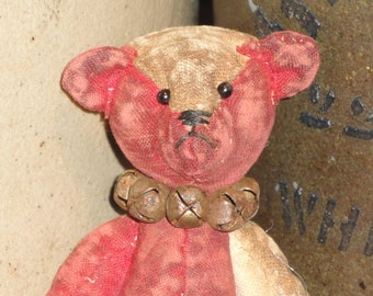 SMALL Antique Quilt Bear | Old Red Quilt Bear | Jointed Bear | SMALL Bear 5 Inches Tall | Hand Sewn Bear | Primitive Bear | Handmade Bear