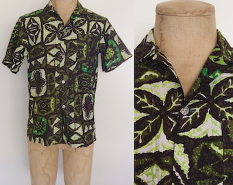 1960's Green Tiki Hawaiian Mens Button Up Shirt Size Small by Maeberry Vintage