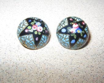 1800s Roses Buttons Cloisonne Pair Antique Vintage Sewing Button #PR65