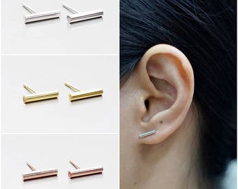 925 Sterling Silver Earrings, Bar Earrings, Gold Plated Earrings, Rose Gold Plated Earrings, Stud Earrings (Code : E44B)