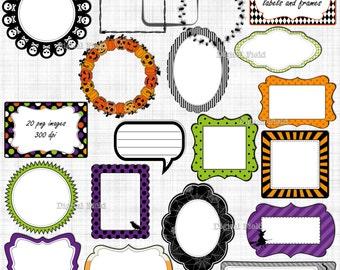 Halloween frame and label clip art set - black orange purple green printable digital clipart - instant download