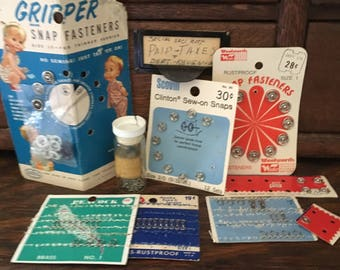 Vintage Miscellaneous Sewing Supplies, Snaps and Hooks and Eyes
