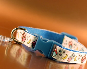 Owls Patterned Cat Collar with Blue Buckle and Fish Charm
