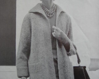 1960's Vintage Knitting PDF Pattern Women's Sweater Coat 1156