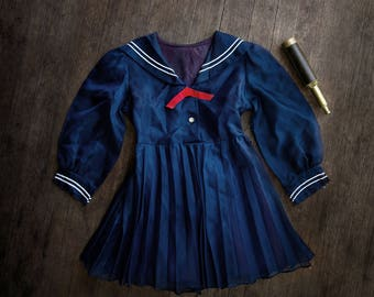 Vintage Sailor Girls Sheer Dress