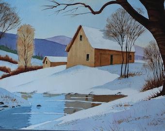 Vermont Barn in Snow