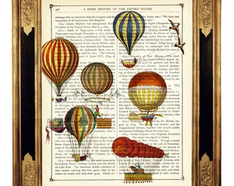 Colorful Airship Balloons II - Vintage Victorian Book Page Art Print Steampunk