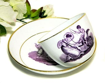 19th Century Antique Staffordshire Mulberry Transferware Cup and Saucer Woman and Child