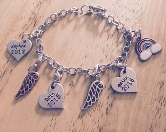 Custom made charm bracelets with lobster clips hand stamped discs up to four discs and/or charms