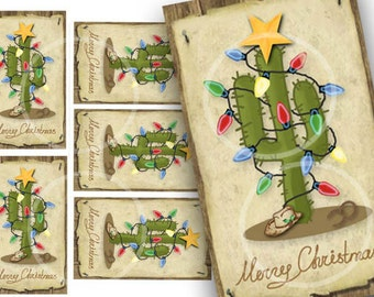 Western Christmas Tree tags, Digital Holiday Gift Tags, Country Western gift tags, Merry Christmas tag, Green cactus, craft supplies,