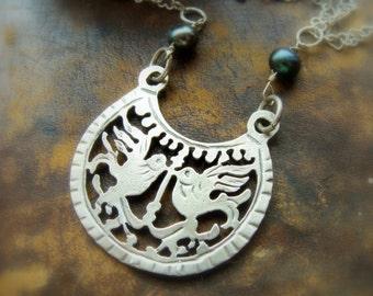Lovebird Necklace Sterling Silver - Sterling Silver Metalwork Bird Jewelry - Lovebird Sterling Silver Pendant