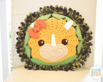 Triceratops Double Sided Handmade Crochet Pillow - READY to SHIP