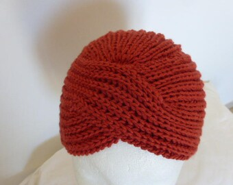 Vintage turban Hat rust 100% French wool Merino