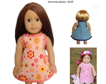 Pixie Faire LIndy Jo Doll Designs EZ Breezy Dress Doll Clothes Pattern for 18 inch American Girl Dolls - PDF