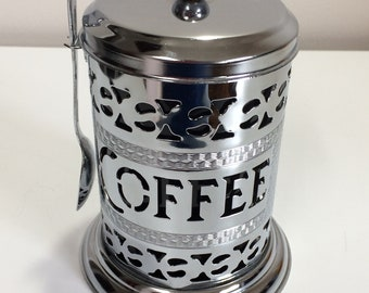 Metal Instant Coffee Condiment Jar with Spoon has Plastic Insert