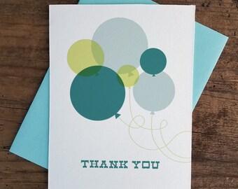 Thank You Balloons Letterpress Card