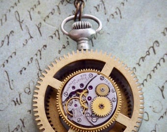 "Steampunk Necklace - ""In the Works"" - Pocket Watch Case- Pendant- Necklace - Upcycled wearable art"