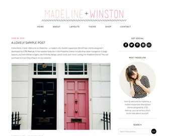 "Wordpress Theme Premade Blog Template Design - ""Madeline & Winston"" Instant Digital Download"