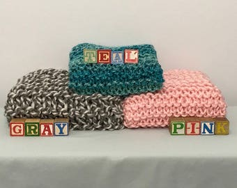 Hand-Knit Baby Blankets-soft and cuddly in Teal, Gray and Pink