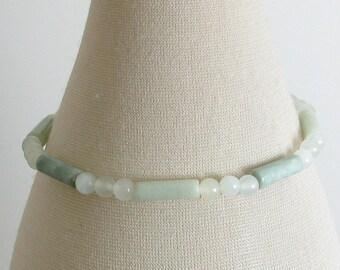 Pastel Green Jade and Sterling Silver Bracelet