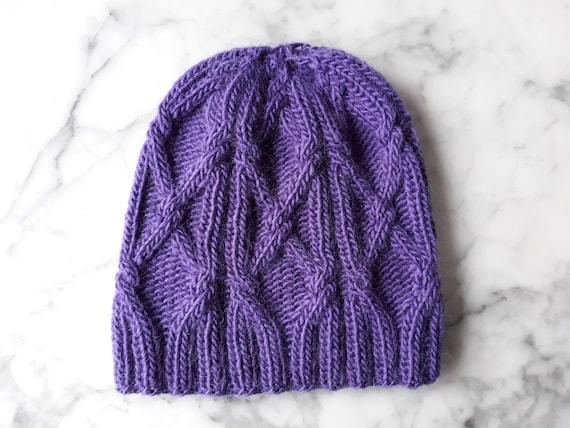 Cable knit beanie: Aran knit hat. Purple handknit hat. Original design. Made in Ireland. Beanie for her. Sublime Aran cap. Wool knit beanie.