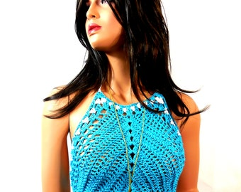 High neck cropped crochet lace hobo top in new design with ties behind.