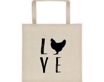 Chicken Tote bag - Love Chickens Cute Tote - Chicken Gift