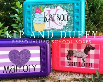 Personalized School Boxes, Personalized Pencil Box, Many Designs Available,Personalized Crayon Box, Back to School