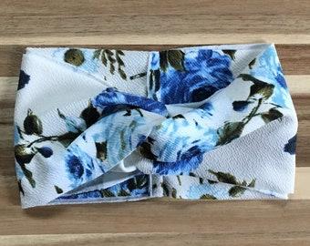 Ivory and Blue Floral Turban Headband, Adult Headband, Boho Headband