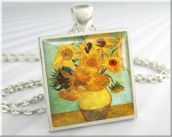 Van Gogh Sunflowers Art Pendant, Vincent Van Gogh Twelve Sunflowers Necklace, Square Silver, Gift Under 20, Vintage Art Gift 125SS