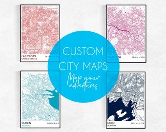 MAKE MAPS, Choose Your Own City, Custom City Map Print, Custom Map Print, Street Map, Wedding, Birthday, Graduation, Map Wall Art