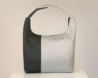 Lunch Bag Insulated, Women Lunch Bag, Colorblock Small Purse,Fabric Lunch Bag, Eco Friendly Lunch Tote-Charcoal Light Gray Colorblock