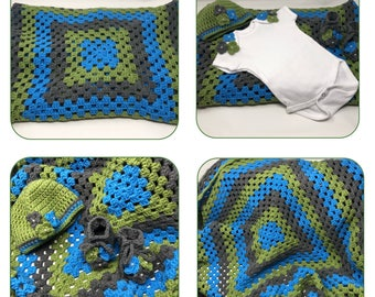 Granny Square Blanket Set