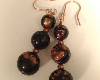 Bronze and black earrings