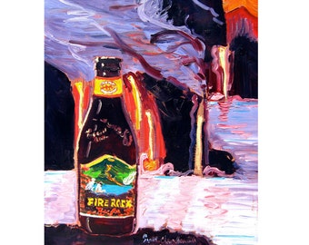 Hawaii Volcano Painting, Hawaii Beer Poster, Fire Rock Pale Ale, Kona Brewing, Lava Painting, Bar Art, Gift for Boyfriend, Beer Gift for Him