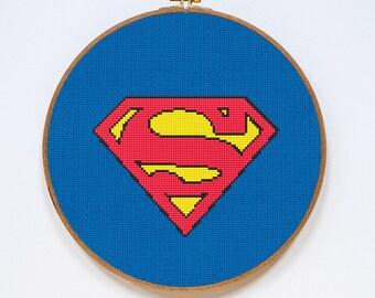 Superman Cross Stitch Pattern, Superhero Crest Counted Cross Stitch Chart, Super-Man, Justice League, PDF Format, Instant Download