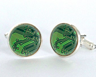 Computer Circuit Board Cufflinks - Computer Geek Cufflinks - Nerd Accessories for Men - Geek Gift for Him - Gift idea for Boyfriend