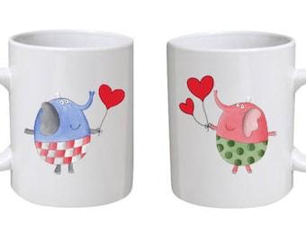 Cute Elephant Love Mug - Gift for your loved one, Valentine's Day Gift, Romantic Mug, Gift for Him, Gift for Her, Anniversary Mug