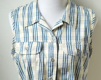 Medium plaid tank top/ blue plaid button up sleeveless blouse/ silver buttons