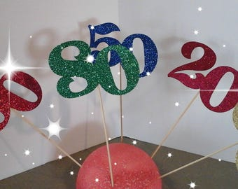 20th, 30th, 40th, 50th, 60th, 70th, 80th, 90th, 21st, Birthday, Anniversary, cake toppers-Get 2 picks-Number  in Glitter-choose your Color