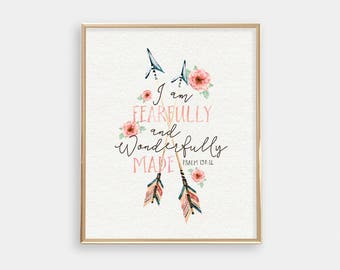 Baptism Gift - Art Print - Fearfully and Wonderfully Made - Bible verse quote - Peach Nursery Decor - Buy one get one free - SKU:1236