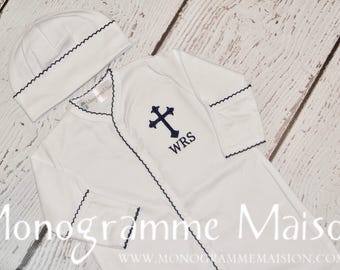 Baby Boy Christening Outfit - Baptism Outfit - Dedication Outfit - Monogrammed Baby Outfit - Newborn Pictures Outfit - Footie - Pima Cotton