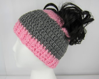 Messy Bun Hat, Crochet Messy Bun Beanie, Pink and Grey, Womens messy bun hat, Girls Juniors teen, Free Shipping