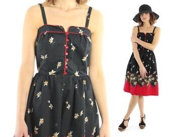 Vintage 70s Sundress Sleeveless Dress Black Floral Hippie Boho 1970s Black Red Medium M