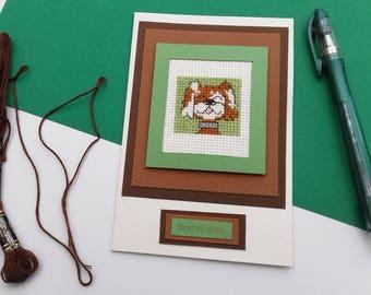 Dog Lover / Cross Stitch card / Patch Dog / Embroidered card / Cross stitch dog card / Doggie card / Best wishes / Blank