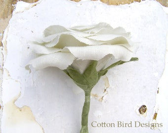 4th Wedding Anniversary LINEN Gift Long Stem Flower for Her Wife Girlfriend Flower by Cotton Bird Designs