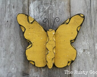 Butterfly, Butterfly Decor, Yellow Butterfly, Garden Decor, Nursery Decor, Rustic Decor, Rustic Spring, Primitive Spring, Farmhouse Decor